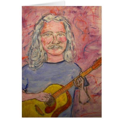 happy birthday folk rock dude greeting card