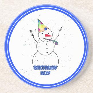 Happy Birthday for Boy Blue Trim Beverage Coasters