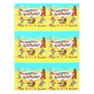 Happy Birthday Forest Friends Tablecloth