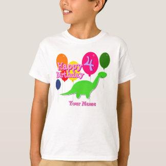 Happy Birthday Four Years Balloon Dinosaurs TShirt