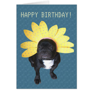 Happy Birthday French Bulldog Flower Card