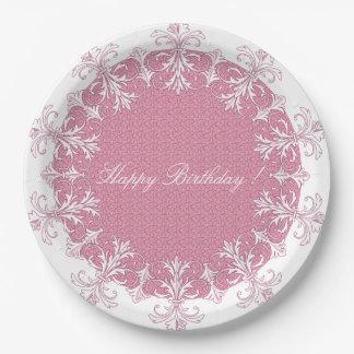 Happy-Birthday-French-Elegance-Stylish-Divine-Rose Paper Plate