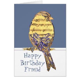 Happy Birthday Friend Musician Fun Music Note Bird Greeting Card
