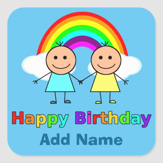 Happy Birthday Friend personalised Square Sticker