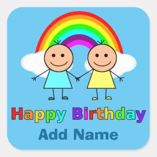 Happy Birthday Friend personalized Square Sticker