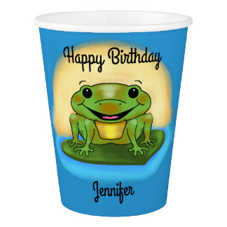Happy Birthday Frog on a Lily Pad Paper Cups