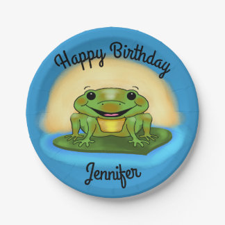 Happy Birthday Frog on a Lily Pad Paper Plates