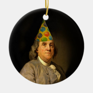 Happy Birthday  From Ben Franklin Double-Sided Ceramic Round Christmas Ornament
