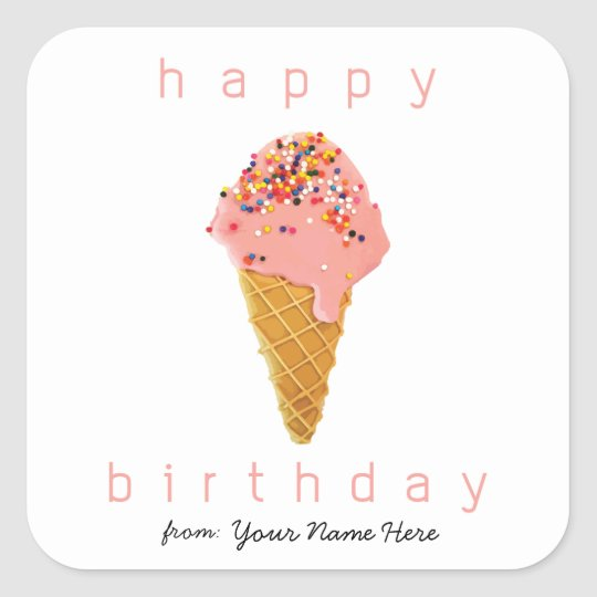 Happy Birthday from Custom Stickers Ice Cream Cone