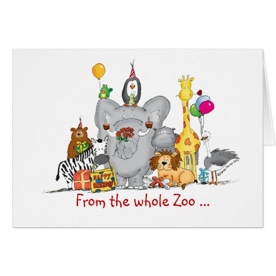 Happy Birthday from Group - Cute Zoo Animals