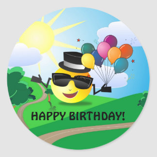 Happy Birthday! from Smiley Classic Round Sticker