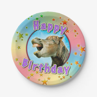 Happy Birthday from the laughing horse 7 Inch Paper Plate