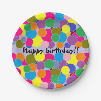 Happy birthday Fun Colorful Circles Design Paper Plate