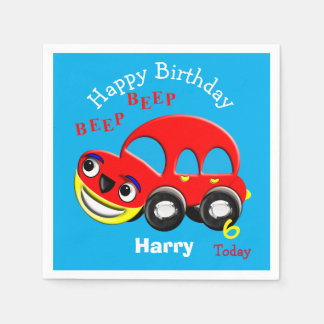 Happy Birthday Funny Cartoon Car Personalized Paper Napkins