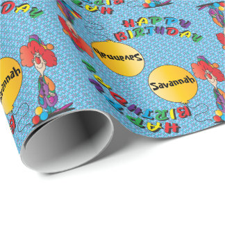 Happy Birthday Funny Clown Wrapping Paper