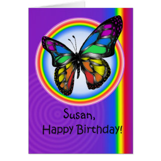 Happy Birthday Gay Lesbian Rainbow Butterfly Card