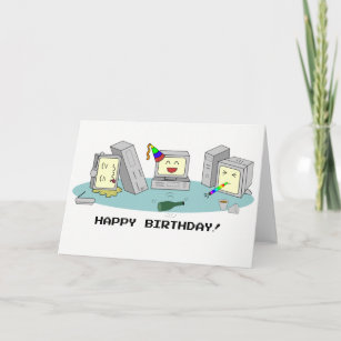 Happy Birthday Geeky Computer Card LAN Party