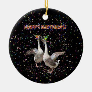 Happy Birthday Geese Round Ceramic Decoration