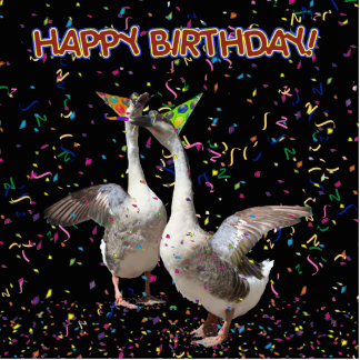 Happy Birthday Geese Standing Photo Sculpture