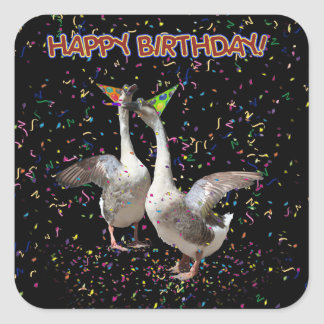 Happy Birthday Geese Stickers