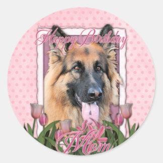 Happy Birthday - German Shepherd - Long Haired Round Sticker