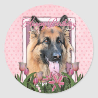 Happy Birthday - German Shepherd - Long Haired Stickers