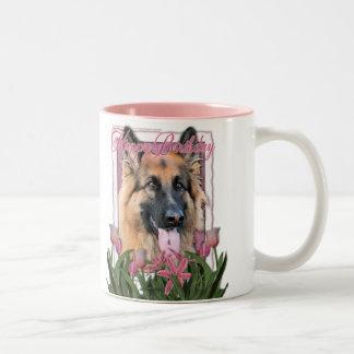 Happy Birthday - German Shepherd - Long Haired Two-Tone Coffee Mug