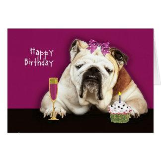 happy birthday, getting older, funny dog, pink bow greeting card