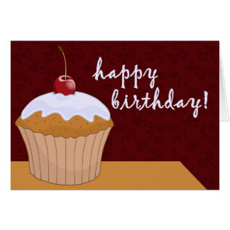 happy birthday : giant cupcake : card
