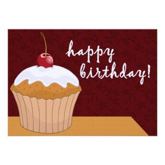 happy birthday : giant cupcake : custom invitation