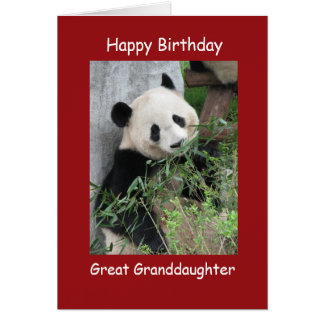 Happy Birthday Giant Panda Great Granddaughter Greeting Card