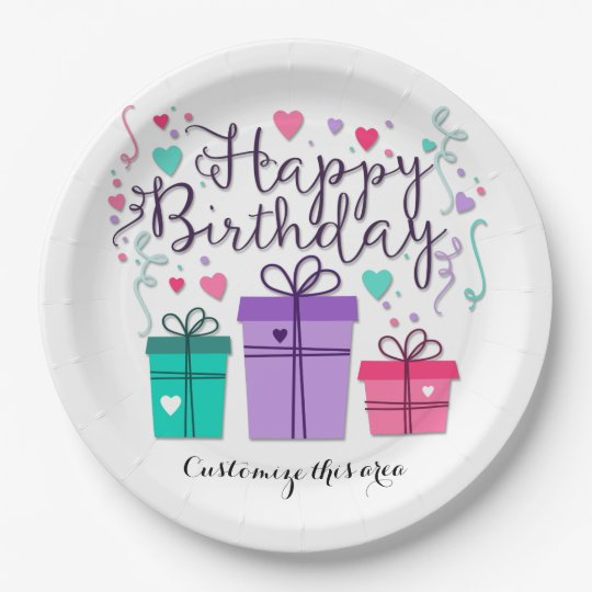 Happy Birthday Gift Boxes on White Customise Paper Plate