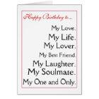 Happy Birthday girlfriend.boyfriend,wife,husband Card