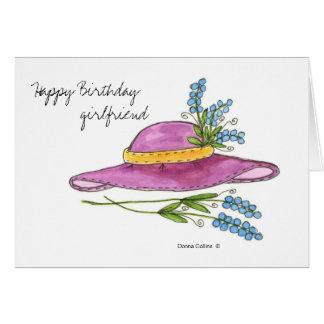 Happy Birthday Girlfriend * Pink Hat Greeting Card