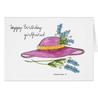 Happy Birthday Girlfriend * Pink Hat Greeting Card