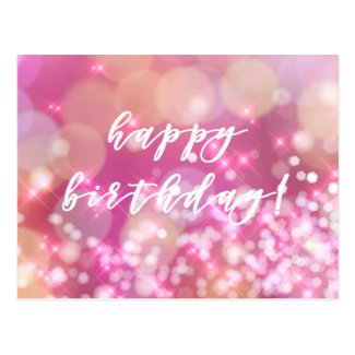 Happy Birthday! Glamourous Pink Sparkles Postcard