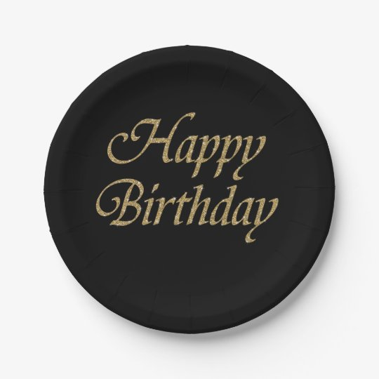 Happy Birthday Glitter Gold Modern Paper Plate