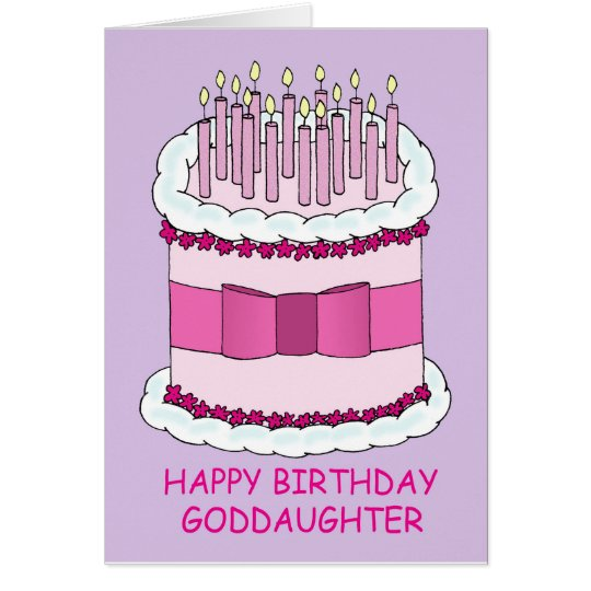 Happy Birthday Goddaughter, pink cake. Card