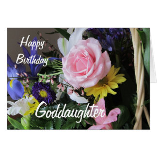 Happy Birthday Goddaughter-Pink Rose Bouquet Greeting Card