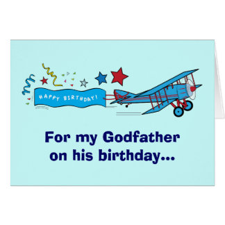 Happy Birthday Godfather Airplane Card