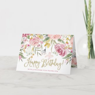 Happy Birthday | Gold and Blush Pink Flowers Card