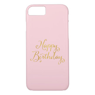Happy Birthday Gold Faux Glitter Metallic Sequins iPhone 7 Case