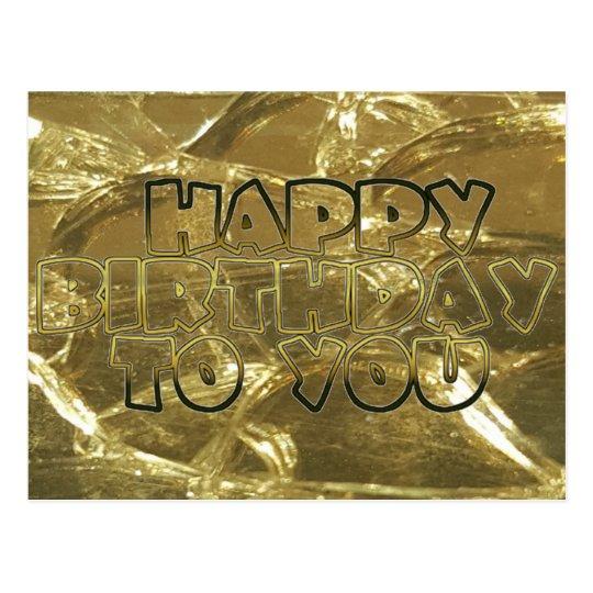 Happy Birthday Gold Golden Shiny Typography Postcard