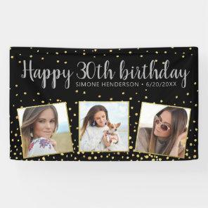 Happy Birthday Gold Silver Photos Any Year Custom Banner