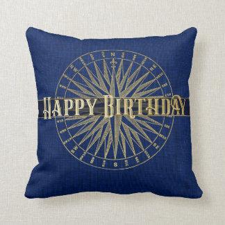 Happy Birthday Golden Compass Design Cushion