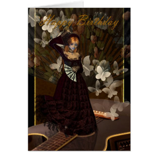 Happy Birthday Gothic Girl with guitar spanish sty Greeting Card
