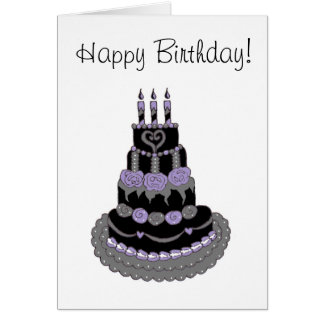 Happy Birthday Gothic Purple Birthday Cake Card