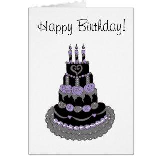 Happy Birthday Gothic Purple Birthday Cake Greeting Card