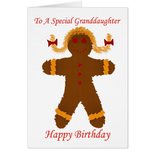 Happy Birthday granddaughter gingerbread girl Card