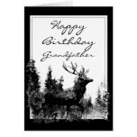 Happy Birthday grandfather Vintage Stag, Deer Greeting Cards